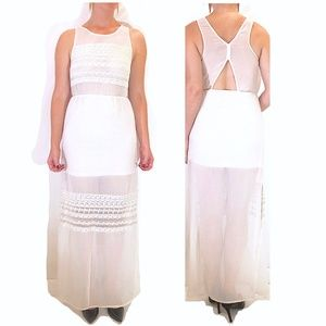 Sheer Panels White Maxi Dress w/ Embroidery Detail